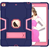 "A-BEAUTY Case for iPad 10.2"" 2019 7th Generation, with [Screen Protector] [Pen] [Shockproof] [Kickstand], Navy Blue Rose"