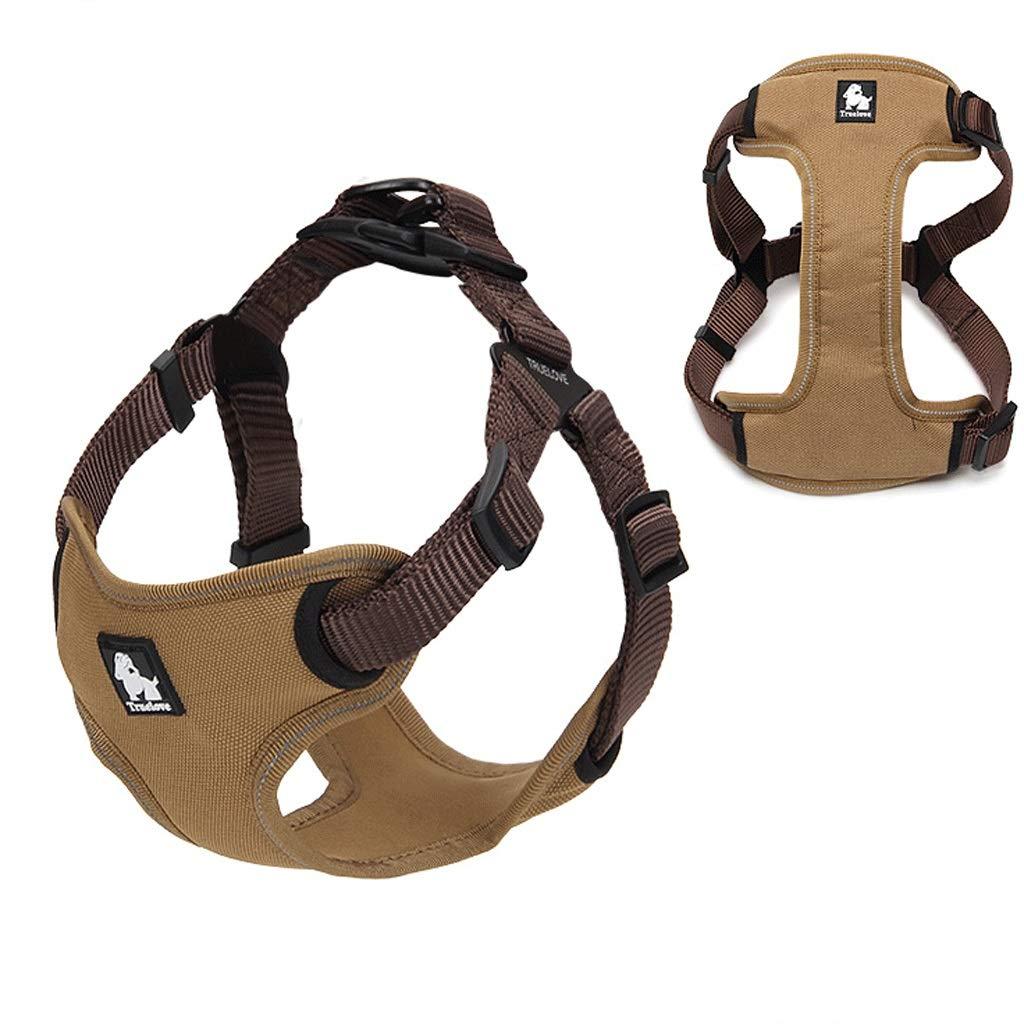 BROWN Large BROWN Large Pet Chest Strap Dog Leash Diving Material Large Dog Dog Rope Dog Strap Dog Vest 3 Size (color   Brown, Size   L)