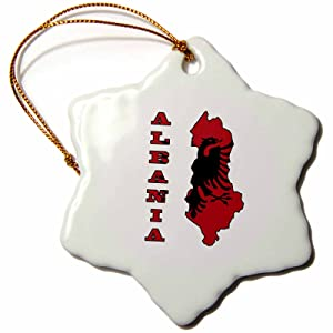 3dRose orn_55498_1 The Flag of Albania in The Outline Map and Name of The Country Albania-Snowflake Ornament, Porcelain, 3-Inch