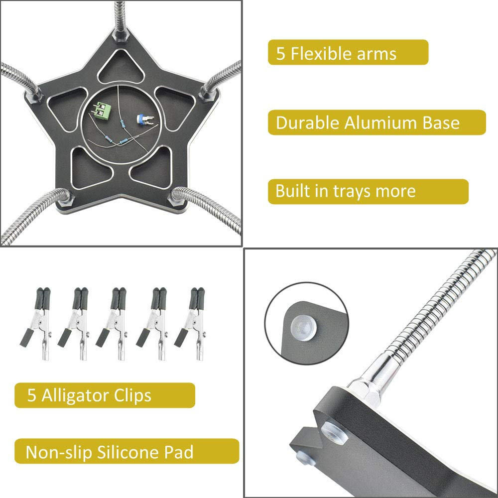 Third Hand Soldering Tool with 5 Flexible Stainless Steel Arms Electric Repair Jewelry Repair PCB Holder Tool Helping Hands Soldering for Soldering Board Repair