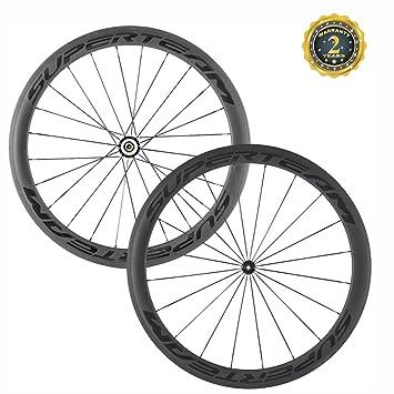 Ruedas para bicicleta de carrera, de la marca Superteam, de 700c, 50 mm, 3K, con cubierta de carbón, 20/24h: Amazon.es: Deportes y aire libre