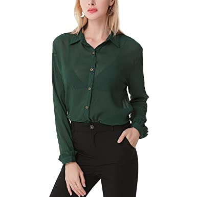 4a6556d7c Eliber Women Long Sleeve Collared Sheer Chiffon Button Down Blouses Top T- shirt - Green -: Amazon.co.uk: Clothing