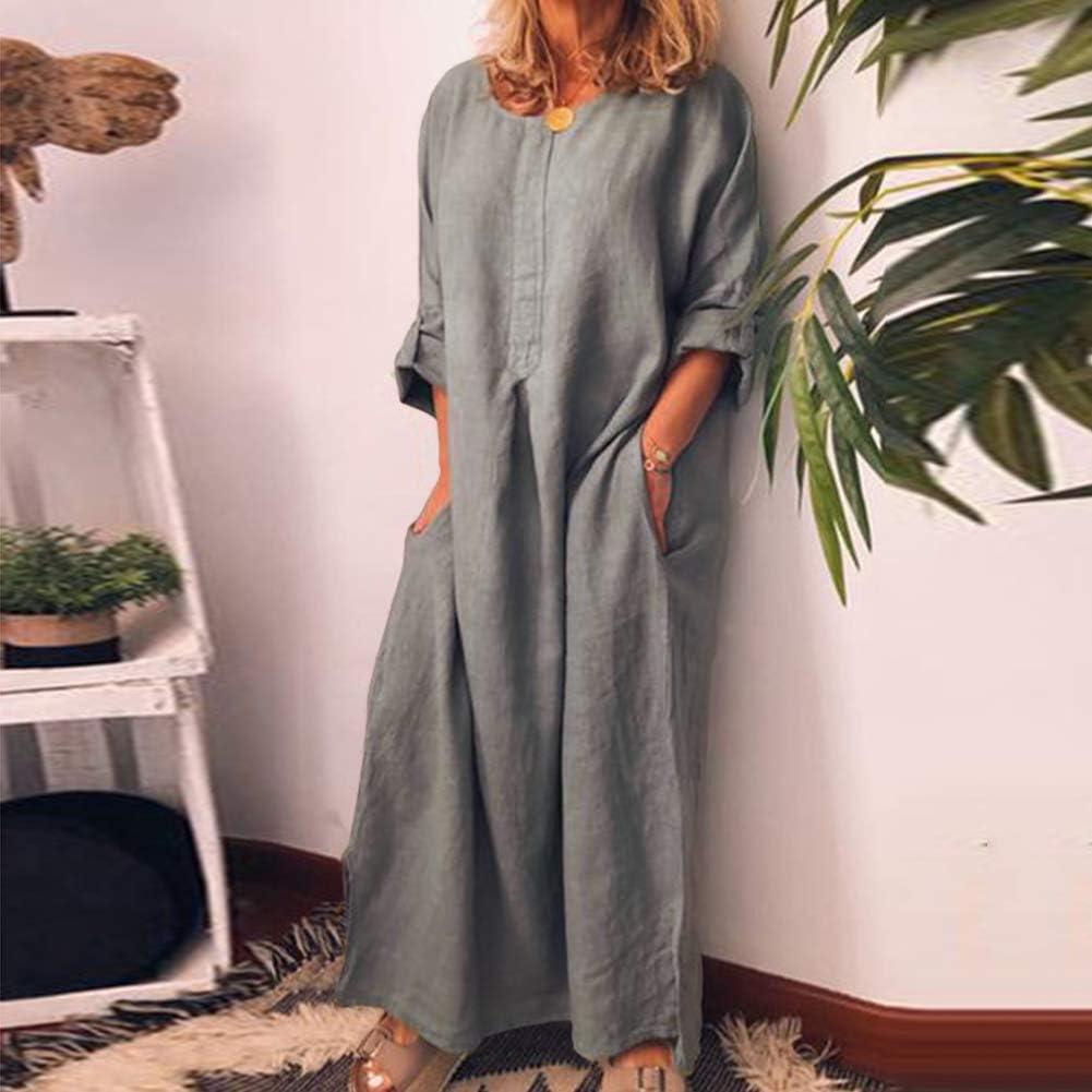 LPxdywlk Couleur Unie Oversize Maxi Dress Femmes Casual Coton Lin Long Chemise Kaftan Dress Party Beach Jupe Manches Peut r/étr/écir White S