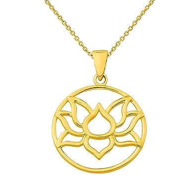 "64d1b17d85 14K Yellow Gold Round Lotus Charm Padma Flower Pendant Necklace, 16"""