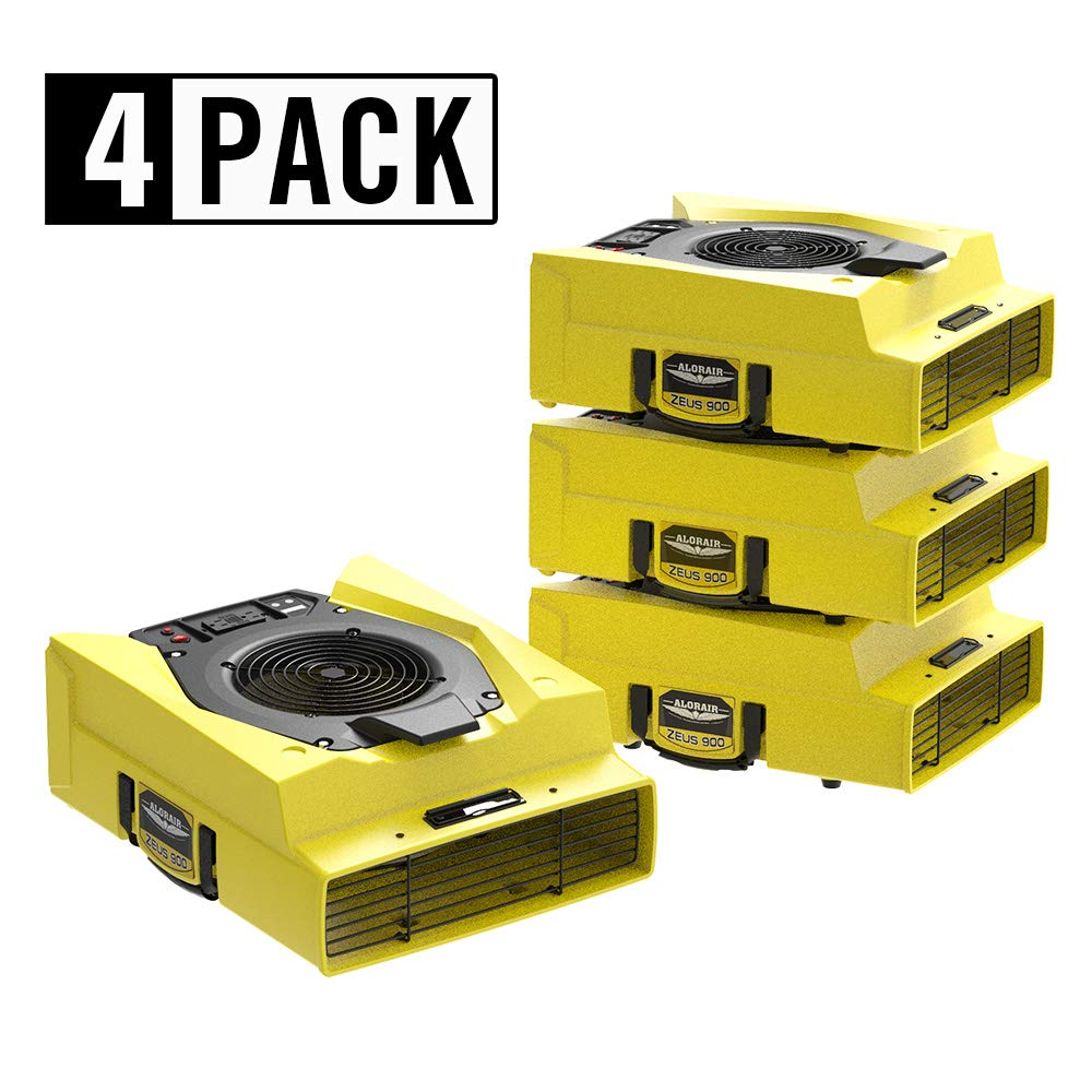 AlorAir 4 Pack Zeus 900 Air Mover Commercial Blower for Carpets, Walls, Plumbing Use, Variable Speed Floor Blower Fan, 950 CFM with 1.8 Amps, Circuit Breaker Protection,on-Board Duplex GFCI, High-velo by AlorAir