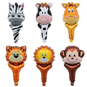 Globo de Lámina Animal,Globo Inflado Fiesta de 6 Piezas para Niños Decoracion Fiesta de Cumpleaños (Animal Holding Balloon)