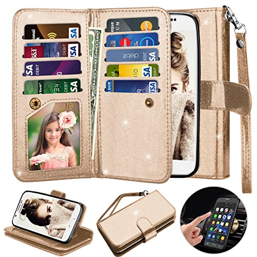 Galaxy S6 Case, S6 Wallet Case, Njjex [9 Card Slots] Shimmering Powder PU Leather Protective Flip Cover [Detachable] [Kickstand] & Wrist Strap For Samsung S6 S VI G9200 GS6 All Carriers - Gold (Galaxy S 5 Sprint Used)