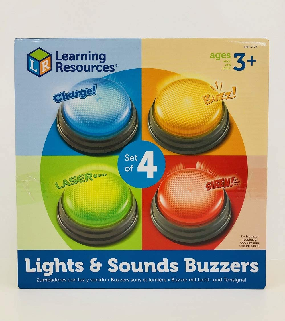 Learning Resources Lights and Sounds Buzzers set o f 4