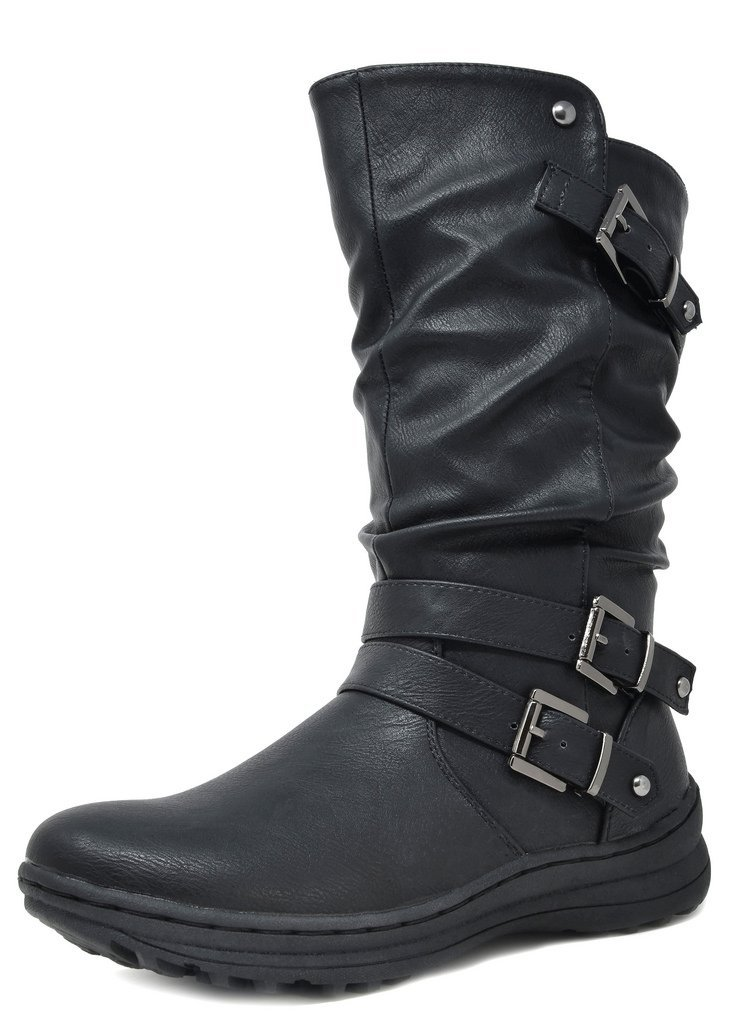 DREAM PAIRS Women's New Moscow Black Faux Fur Lined Mid Calf Winter Snow Boots Size 6 B(M) US