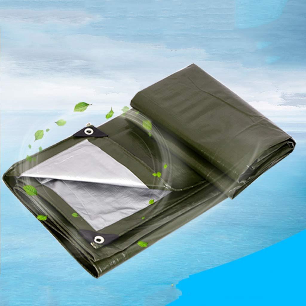 Starke Plane, Wasserdichte Plane, Starke regendichte Sonnenschutz-Markise-Plane im Freien, Militärgrün-Silber 9831ae
