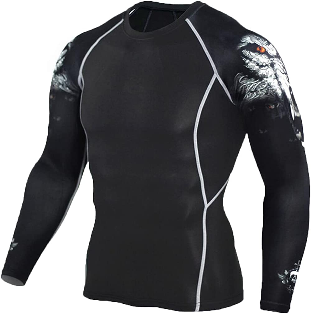 NATURET Mens Baselayer Athletic Compression Long Sleeve Skin Fit Sports Workout Shirt Quick Dry Super Hero