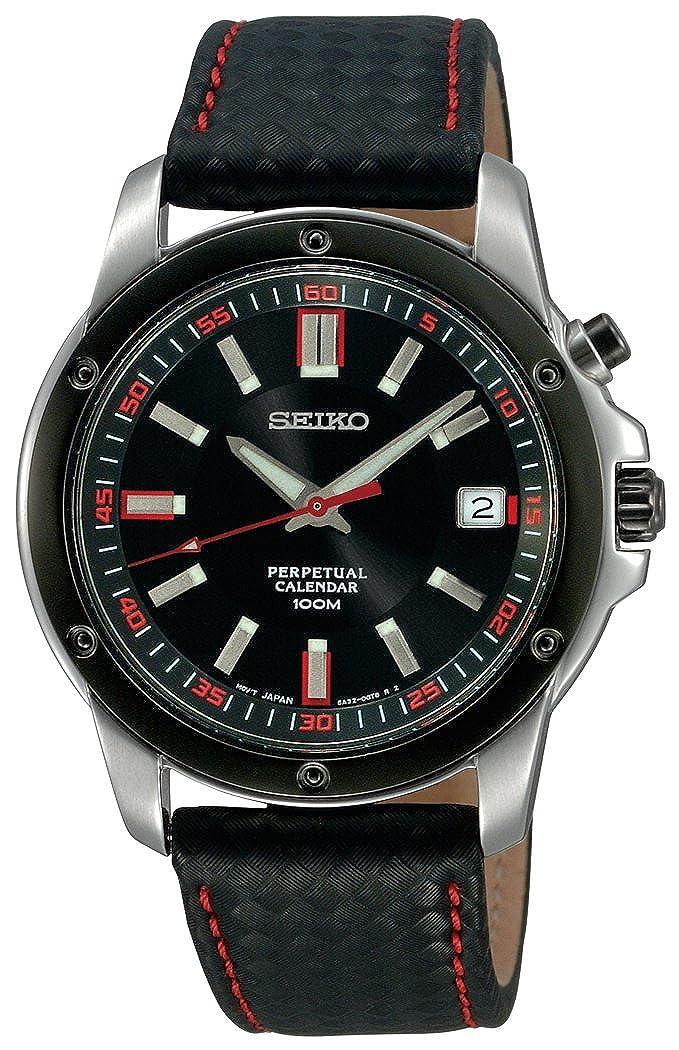 Seiko Men s SNQ097 Perpetual Calendar Black Ion Finish Black Bezel Strap Watch