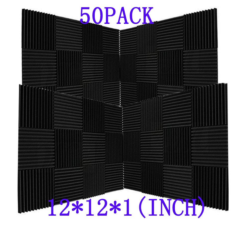 50 Pack Ice Black Acoustic Panels Studio Foam Wedges 1'' X 12'' X 12'' (50pack, Black)