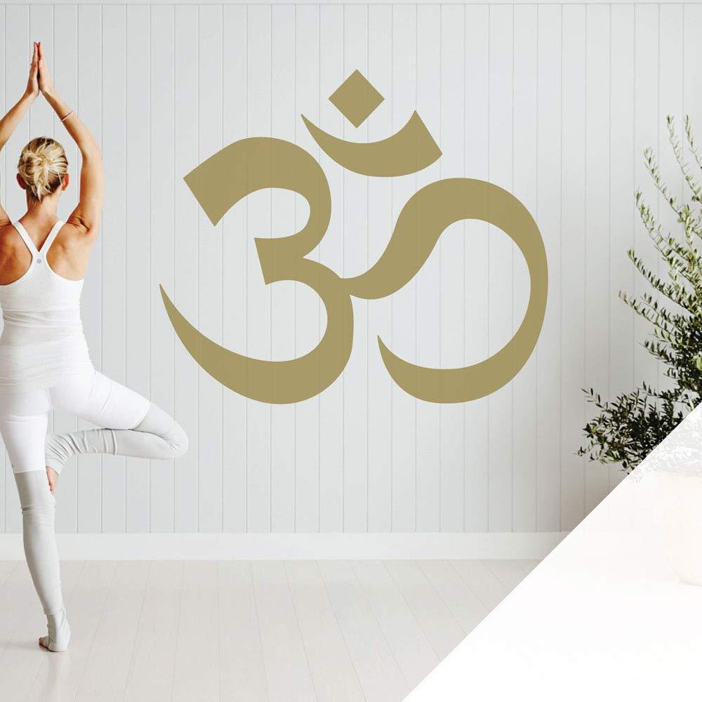White XLarge (990 x 850mm) Om Symbol  Yoga Meditation  Studio Wall Art Sticker [gold]