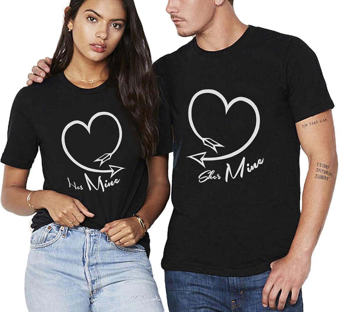 Women Men Heart Print T-Shirt Blouse Short Sleeve Couple Tops Valentine/'s Day