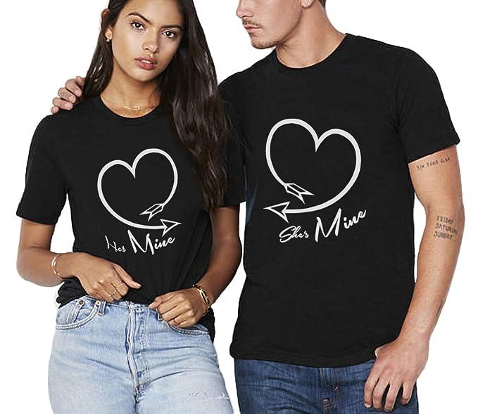 969f817623ac0 Camiseta King Queen Pareja Shirt Impresión Corazón 100% Algodón T-Shirt  Parejas para Mujer Hombre Manga Corta Blusa Verano Regalo de San Valentín  Dulce  ...