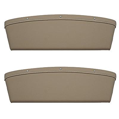 LOCEN Premium PU Leather Car Seat Gap Filler Catch Side Pocket Organizer Set of 2 Beige: Automotive