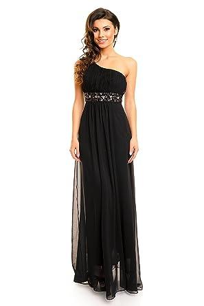 One Shoulder Abendkleid mit Strass Abiballkleid Maxikleid ...