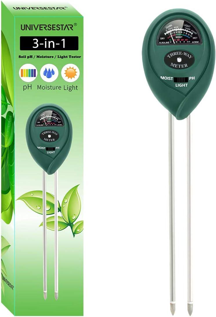 UNIVERSESTAR Soil pH Meter 3-in-1 Soil pH, Moisture, Light Tester Soil Tester Kits for Garden, Farm, Lawn, Indoor & Outdoor Plants, Gardening Tool Kits for Plants Care