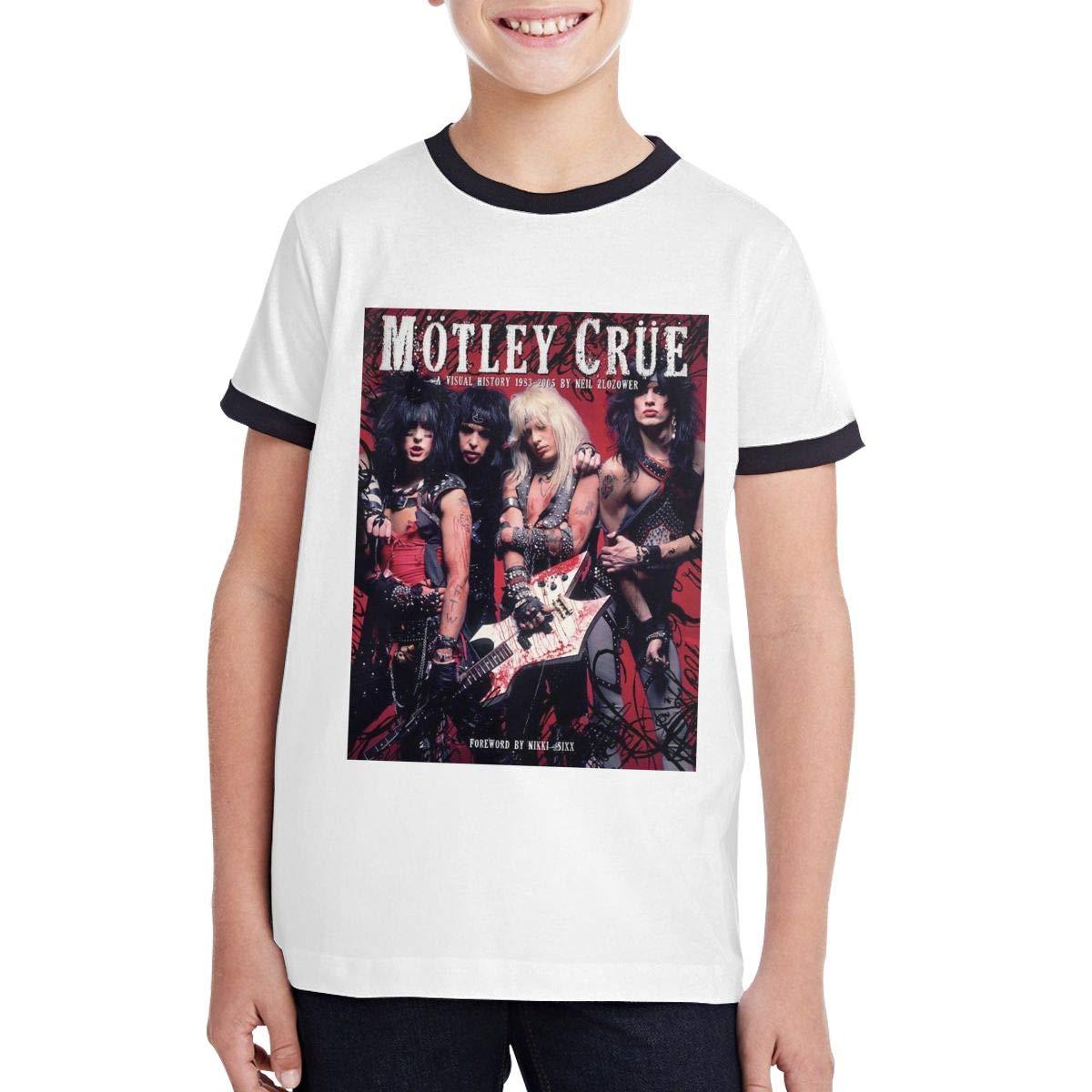 Cotton,Size:S-XL HELON K SUEEY Motley Crue Soft Teen BoyClassic Round Neck Teen Customized Contrast T-Shirt