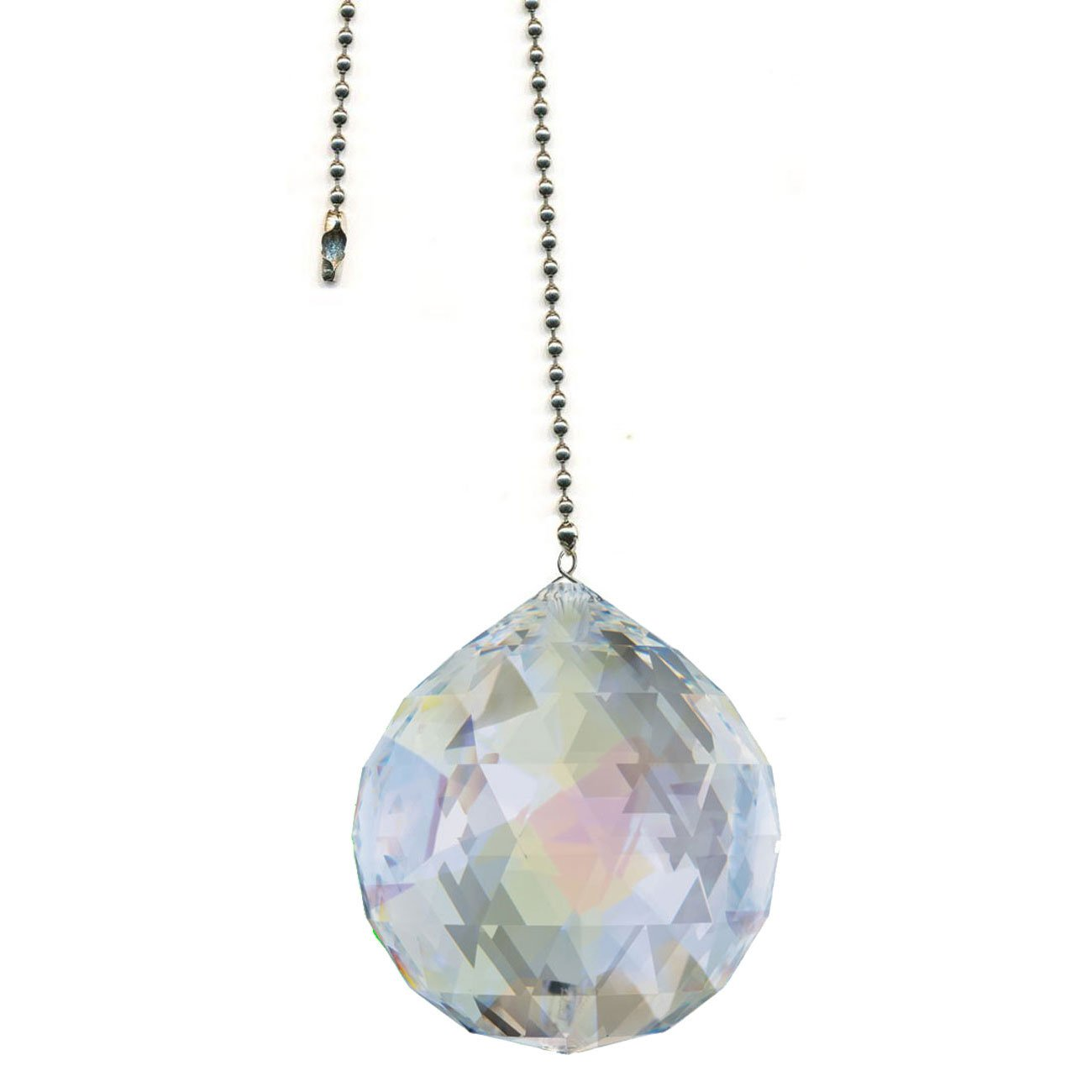 Swarovski 30mm Aurora Borealis Faceted Crystal Ball Prism Dazzling Crystal Ceiling FAN Pull Chain by CrystalPlace