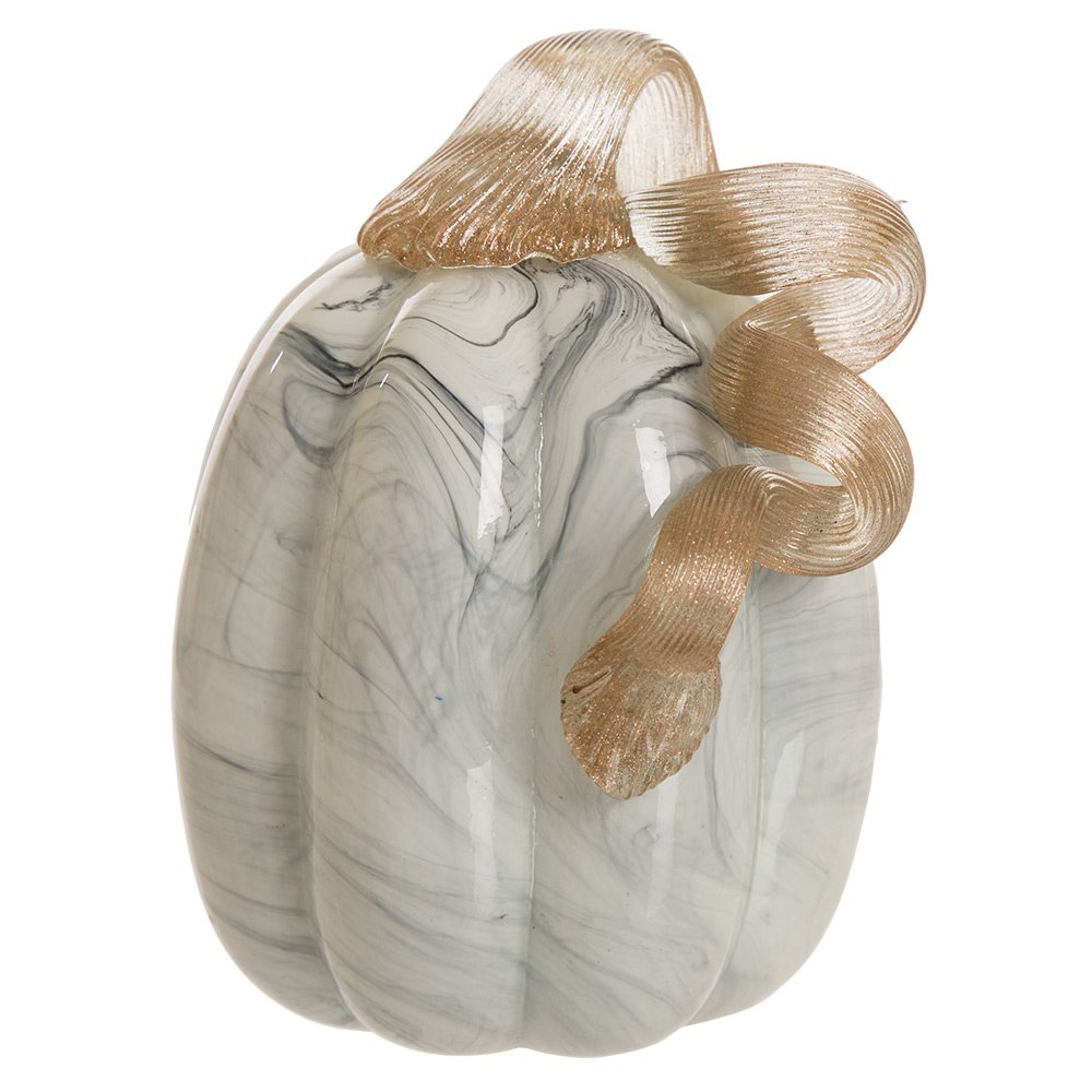 "Glitzhome Hand Blown Glass Pumpkin Table Accent for Fall Harvest Decorating for Mother Gray Marble 5.71"" H"