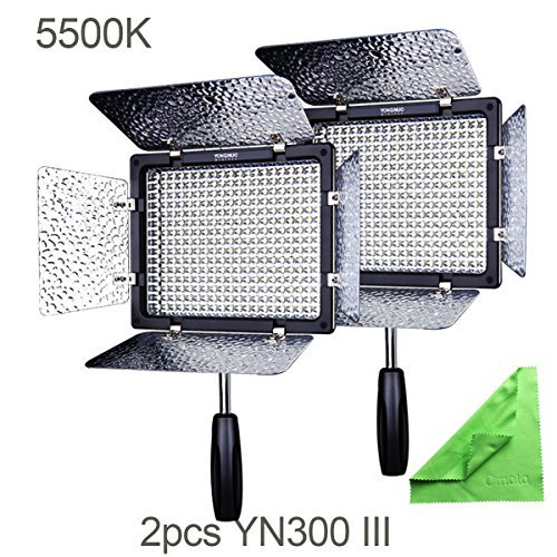 2 Pcs YN300 III, YONGNUO YN300 III YN-300 III LED Camera Video Light with 5500k Color Temperatur e and Adjustable brightness for Canon Nikon Pentax Olympas Samsung by Yongnuo