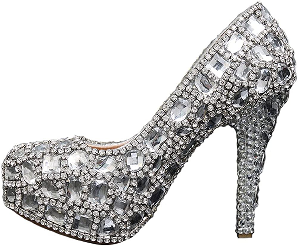 Jianda Womens Prom Pageant Shoes Hand Made Crystal Bridal Wedding Shoes