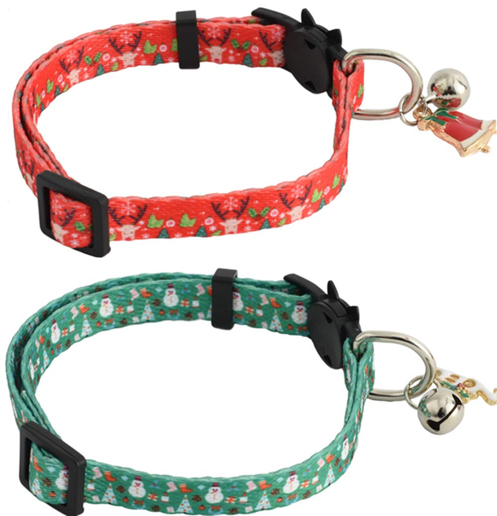 Pawskido Christmas Cat Collars Quick Release with Bell Pack of 2 Xmas Kitty Collar