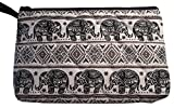 Makeup Cosmetic Bag Small Case Travel Purse Pouch Black Elephant Print Canvas Unique Handmade (Black)