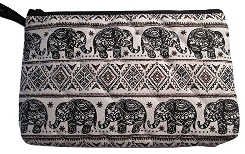 Makeup Cosmetic Bag Small Case Travel Purse Pouch Black Elephant Print Canvas Unique Handmade (Black)
