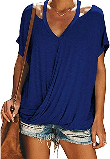 Eoeth Fashion Tops Blouse Womens Loose V-Neck Short Sleeve Hollow T-Shirt Solid Simple Pullover Shirts Tracksuits Tee