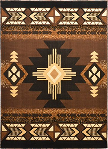 Western Essence Rugs 4 Less Collection Southwest Native American Indian Area Rug Design Brown Chocolate 318 (8'x10')