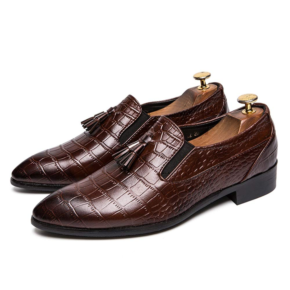 Hilotu Mens Oxford Shoes Business Dress Shoes Crocodile Print with Front Tassel Round Toe Flat Heeled Slip-On Loafers