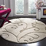 Safavieh Florida Shag Collection SG455-1113 Scrolling Vine Cream and Beige Graceful Swirl Round Area Rug (4' Diameter)