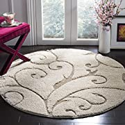 "Safavieh Florida Shag Collection SG455-1113 Scrolling Vine Cream and Beige Graceful Swirl Round Area Rug (67"" Diameter)"