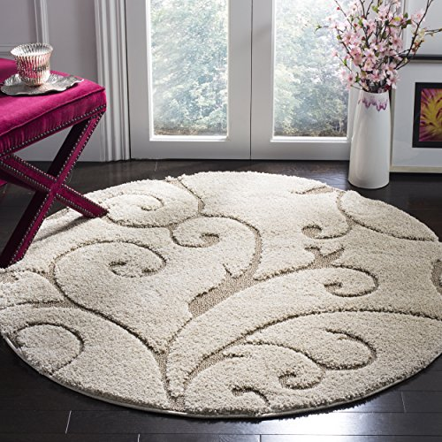 Safavieh Florida Shag Collection SG455-1113 Scrolling Vine Cream and Beige Graceful Swirl Round Area Rug (4' Diameter) (Rounds Rugs)