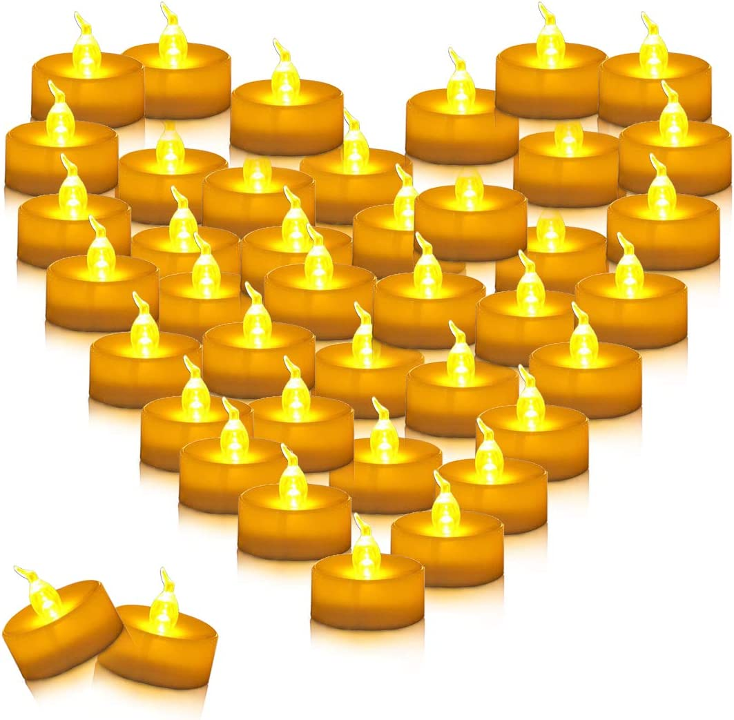 Youngerbaby 100pcs Amber Yellow Battery Operated Tea Lights Flameless Flickering Led Tea Light for Weddings, Outdoor, Restaurants and Parties Decor Long Lasting Candles Small Tealights 100 Pack