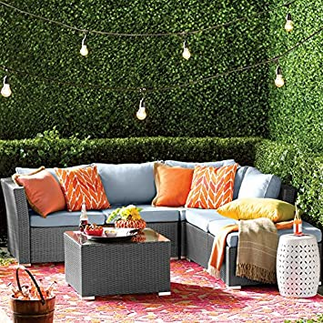 Zebrano - jardín al aire libre 4 piezas esquina sofá con mesa de ...