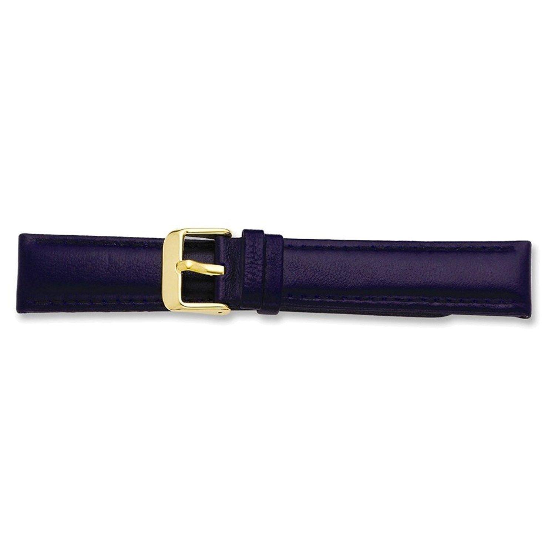19 mm Navyグローブレザーゴールド調バックル腕時計バンド  B074XG3MLL