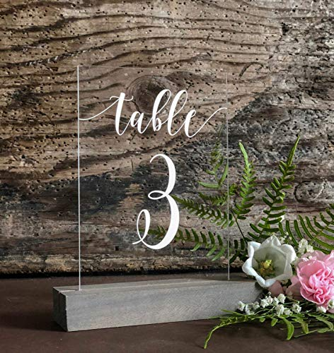 Table Number Sign for Wedding Reception Party - Wedding Table Numbers in Cursive Handwriting on Clear Acrylic w/Stained Wood Stand - Perfect as Rustic Wedding Decorations, Reception Table ()