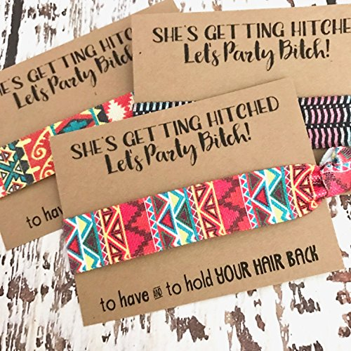 Getting Hitched (Set of 5 She's Getting Hitched Bachelorette Hair Tie Party Favors | Bachelorette Favors | Assorted Aztec Print Hair Ties)