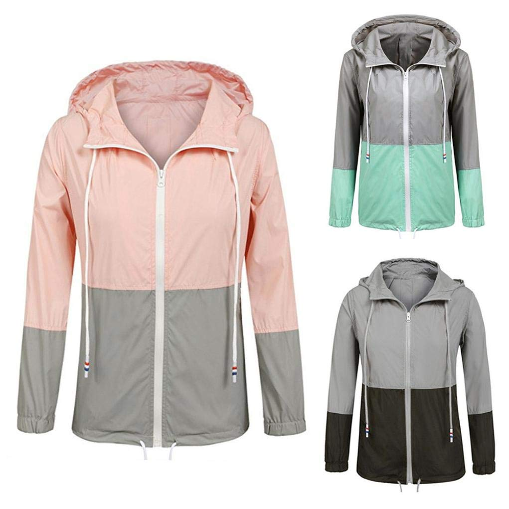 KpopBaby Women Long Sleeve Patchwork Thin Skinsuits Hooded Zipper Pockets Sport Coat Pink