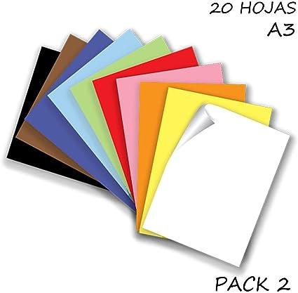 Starplast, Pack 2 Blocs de Papel, Cartulinas, 20 Hojas A3, 180gr/m² para Manualidades, Dibujo, Diseños, etc. 10 Colores Claros: Amazon.es: Oficina y papelería