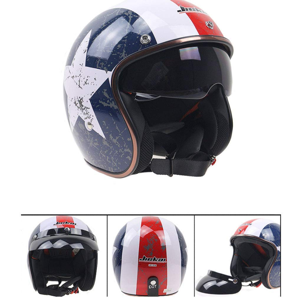 Us Team Helmet Xl Motorcycle Helmet Retro Riding Helmet Electric Car Motorcycle Helmet Built-in Lens Safety Helmet Hard Hat Vintage Scooter Helmet Road Helmet