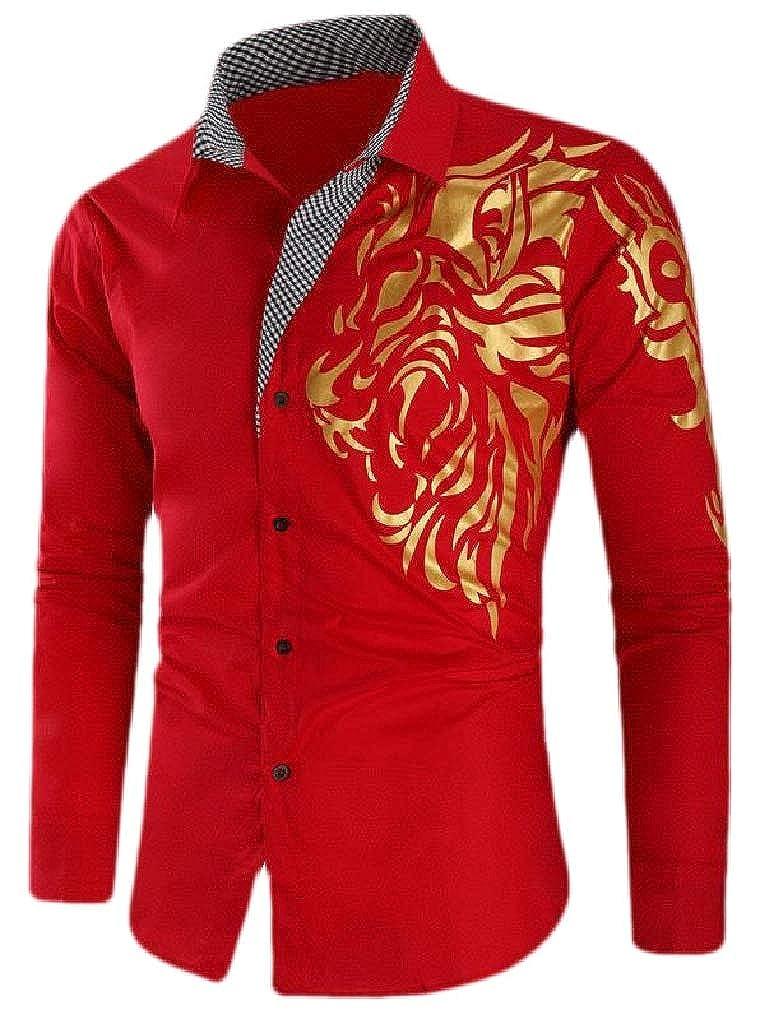 Etecredpow Mens Slim Fit Printed Lapel Neck Curved Hem Button Down Shirts