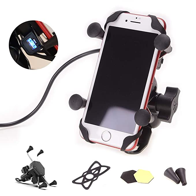 best sneakers ce841 12aff Goodway Universal Motorcycle Cell Phone Mount Holder Waterproof with USB  Charger 360° Rotation for iPhone Samsung GPS ATV Scooter Moped Chopper ...