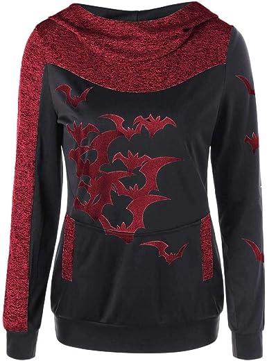Sweat-Shirt /à Manches Longues Imprim/é Chauve-Souris Halloween pour Femme Blouse D/écontract/ée Pull Pull /à Manches Longues Grande Taille Femmes Sweat-Shirt Hauts De Sport Imprim/é Sweatshirt