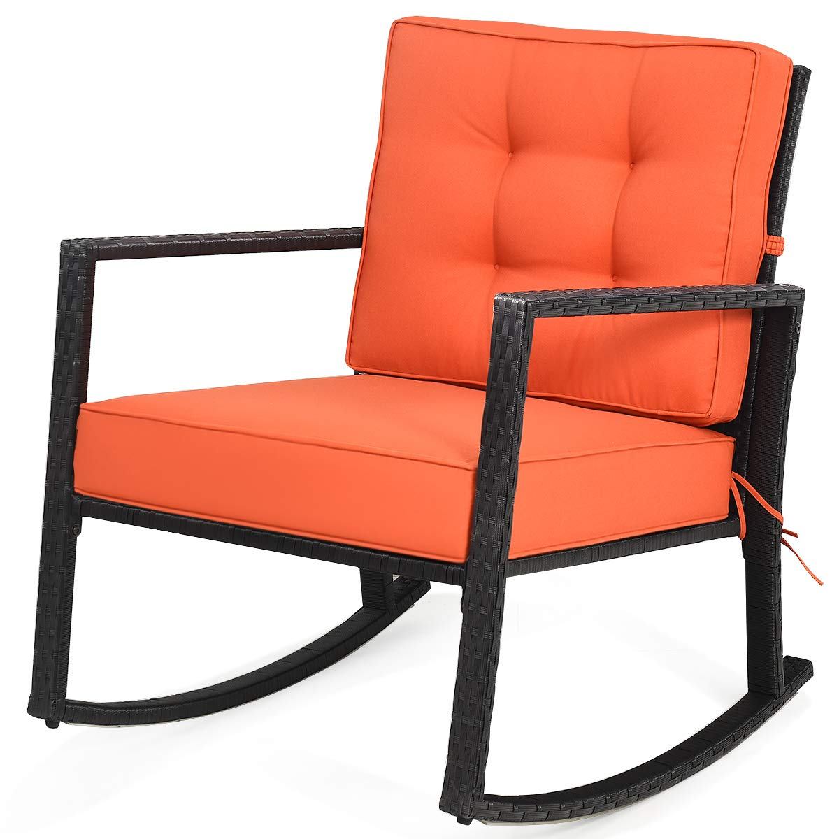 """Poolside Backyard Porch Suitable for Garden Outdoor Glider Rattan Rocker Chair with Heavy-Duty Steel Frame Weight Capacity Up to 360 lbs with 5/"""" Thick Cushion Tangkula Wicker Rocking Chair"""