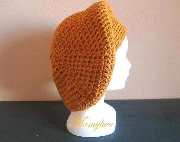 Béret bonnet femme ado laine moutarde mode hiver tendance idée cadeau noël  Anniversaire Rentrée fait main e1477ca129a
